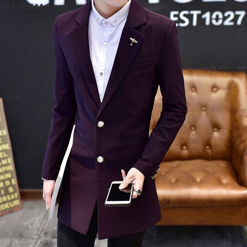 be41f1a4c 2019 VERSMA 2018 Black Long Suit Blazer Jacket Male Slim Fit Groom ...