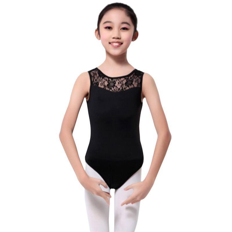 75db745fe Girls Ballet Dancewear Lycra Lace Black Tank Bodysuit Solid Dance ...