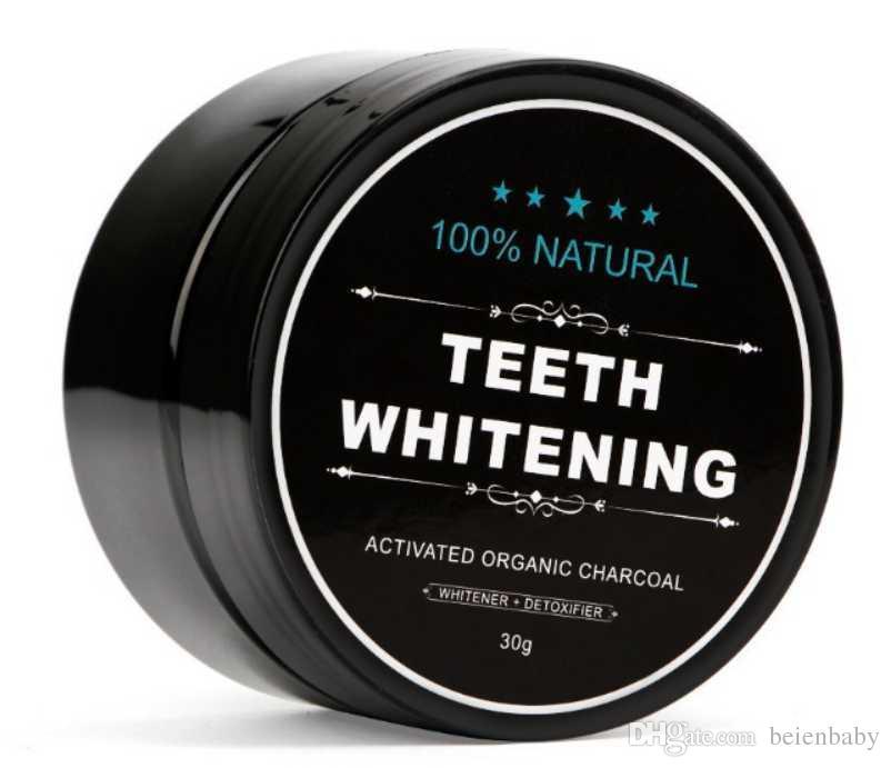 100٪ الطبيعية العضوية الفحم المنشط تبييض الأسنان مسحوق إزالة البقع الدخان الشاي القهوة الأصفر رائحة الفم الكريهة مع فرشاة