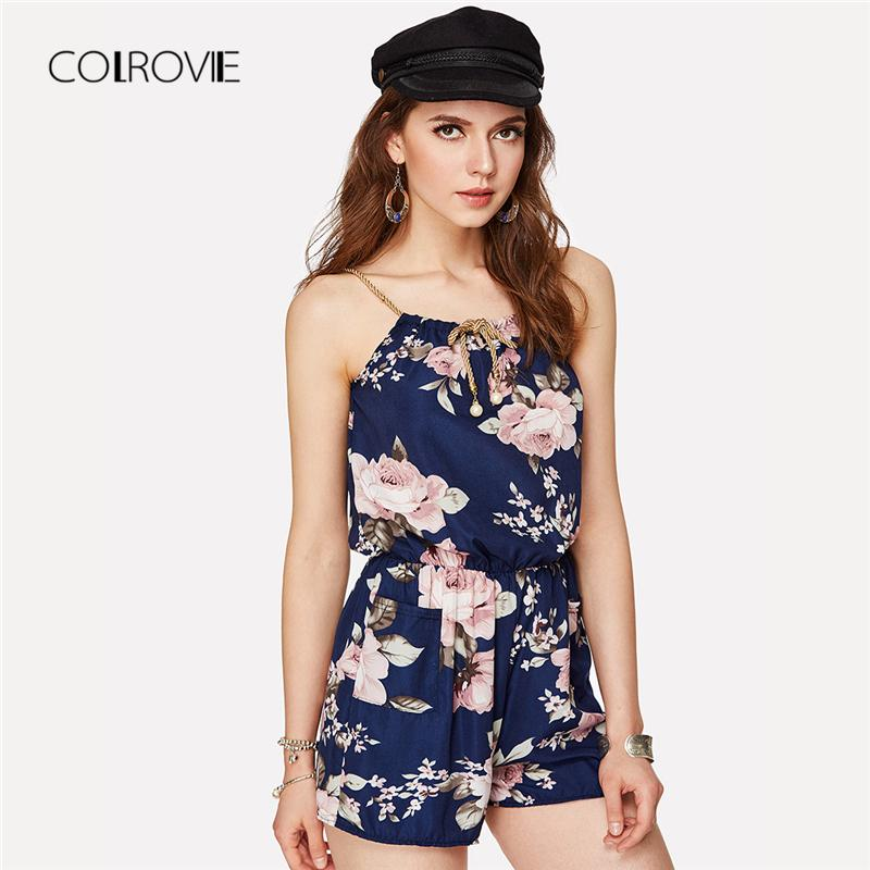 eee3738245f 2019 COLROVIE Floral Print Random Self Tie Cami Romper 2018 New Holiday  Spaghetti Strap Women Rompers Summer Beach Loose Playsuits Y1891806 From  Zhengrui05