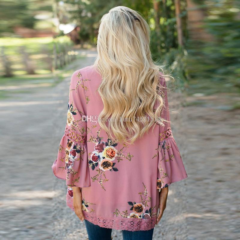 Printemps Femmes Boho Floral Imprimé Blouse Nouvelle Cloche Manches Creuser En Dentelle Patchwork Kimono Cardigan Femme Tops En Mousseline De Soie