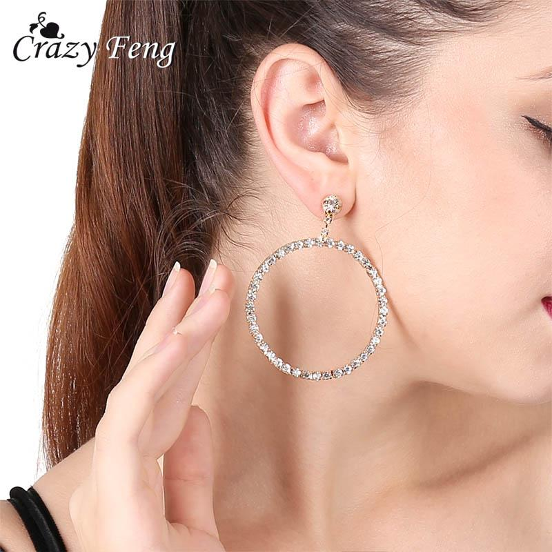 3240eaa75 2019 Simple Korean Fashion Gold Color Big Earrings For Women Rhinestone  Round Hanging Earrings Wedding Statement Jewelry Ear Rings From Newlake, ...