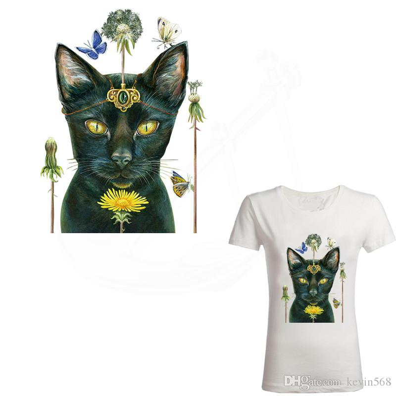 2018 Zlolan New Black cat iron on patch 29.5*22cm DIY lady T-shirt Sweater thermal transfer paper patches for clothing