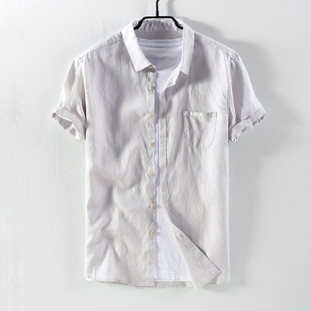 cedcf9335a15 Acquista Camicia Di Lino Manica Corta Di Suehaiwe Camicie Da Uomo Casual  Moda Grigio Camicia Da Uomo Lino Confortevole Camicia Maschile Camisa  Chemise A ...