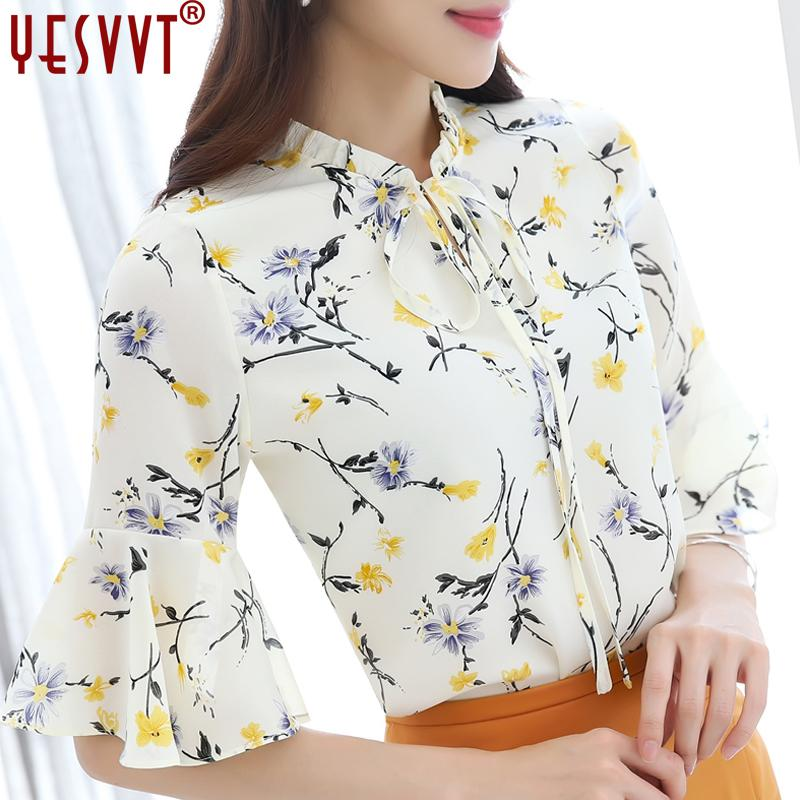 f00deb5f45 2019 2017 Floral Chiffon Blouse Women Tops Half Sleeve Shirt Women Ladies  Office Blouse Korean Fashion Blusas Chemise Femme S 3xl 4xl From Honry