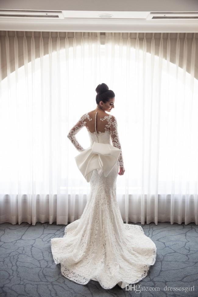 Robes de mariage ivoire luxueux train détachables église de mariée pure manches longues bijou col sirène robes de mariée avec perlé personnalisé