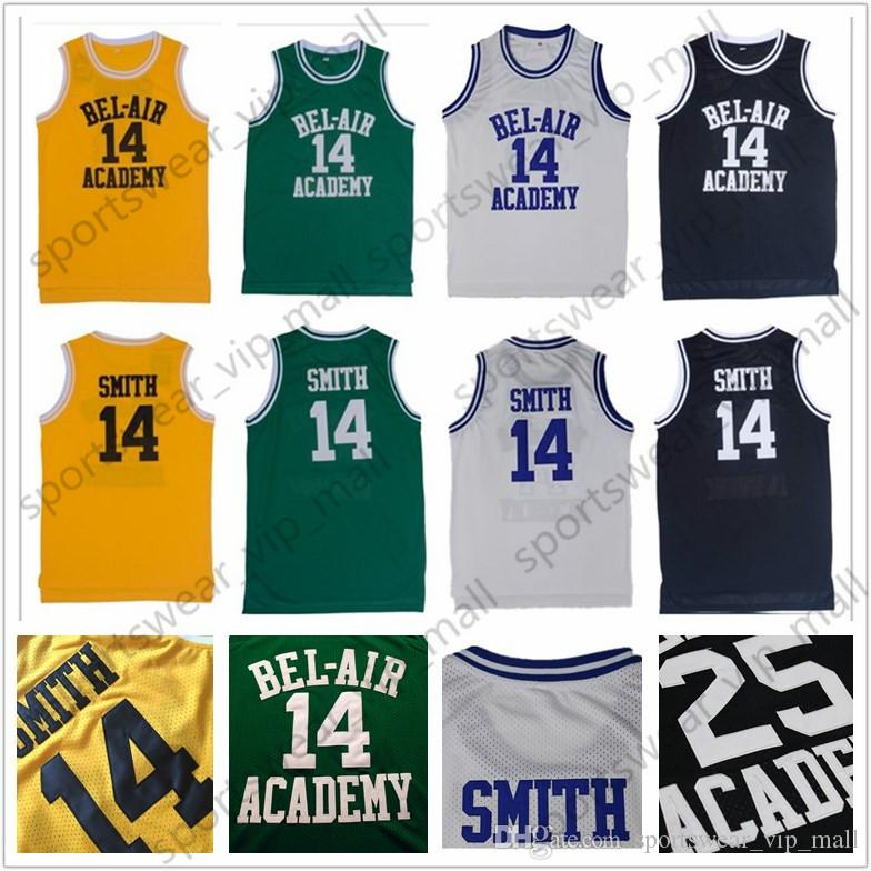 2019 The Fresh Prince Of Bel Air Academy Movie Version Jersey Stitched 14 Will  Smith 25 Carlton Banks Basketball Jerseys Black Green Yellow White From ... 5af37695e