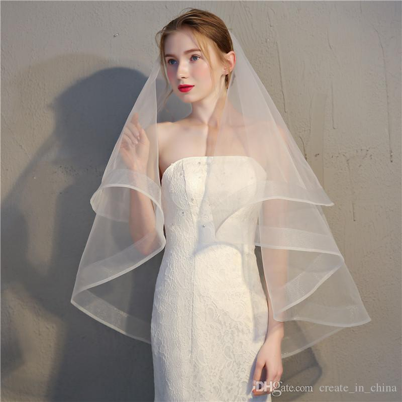 2018 New fashion Cheap Pretty Bride veil reasonable price good quality 100% chinlon diverse styles one colors support delivery hot sales
