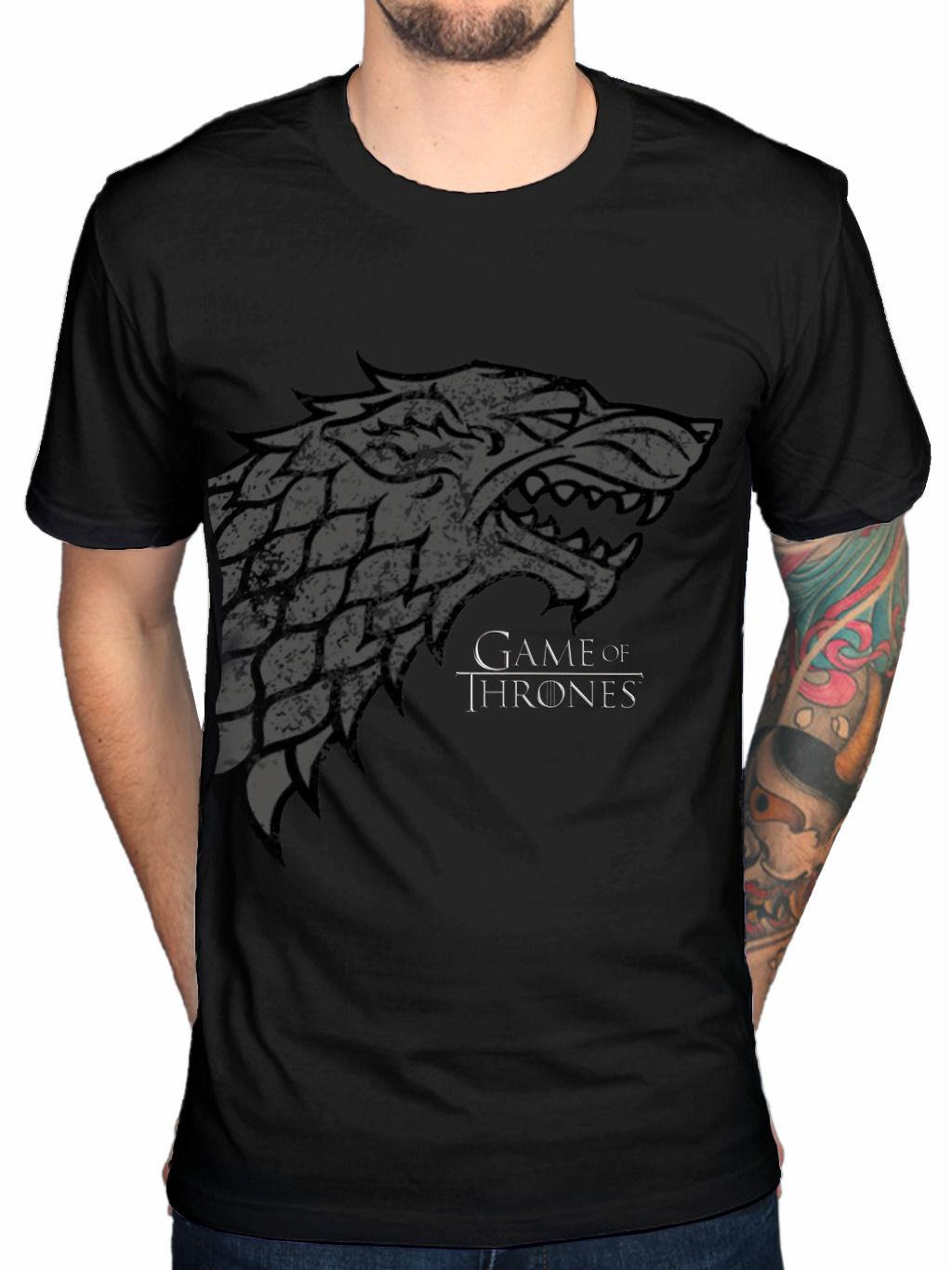Official Game Of Thrones Direwolf T-Shirt GOT Mother Of Dragons Fire And Ice Fan