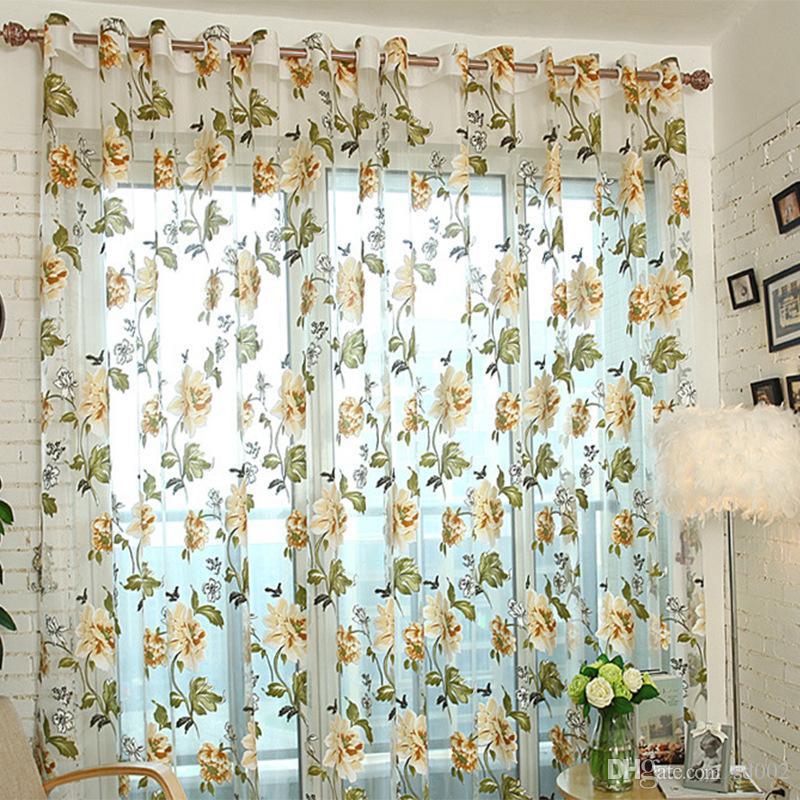 2019 Peony Flower Window Curtains Living Room Bedroom Door Room ...