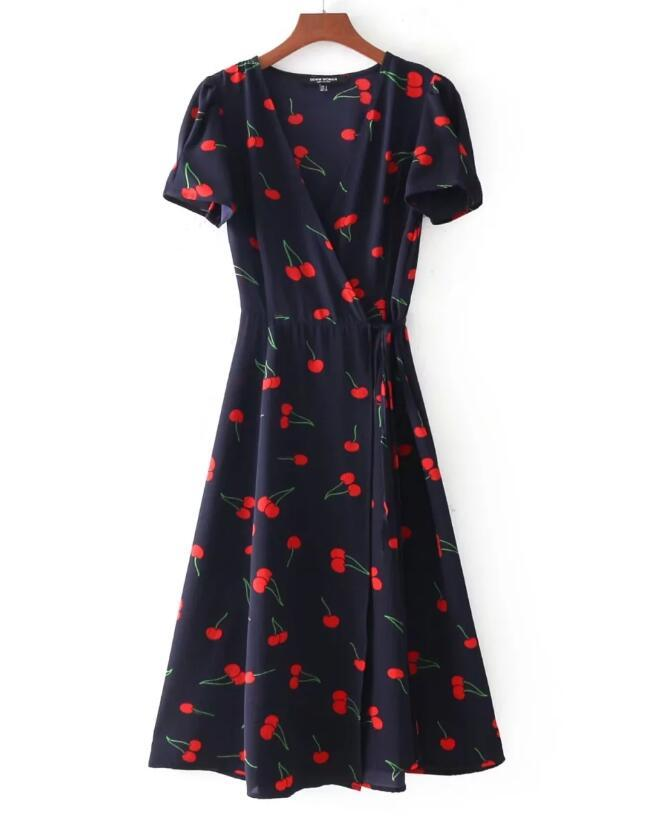 Europe and the United States style fashion V collar bubble sleeve waist collection temperament small flower dress