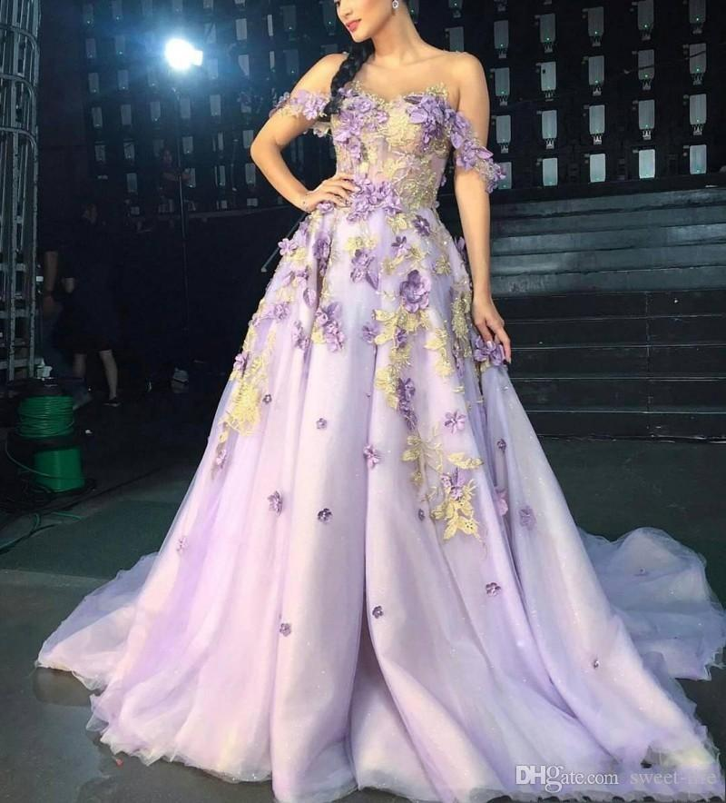 2019 Prom Dresses Long Off The Shoulder Petal Power Appliques Tulle Celebrity Evening Gowns Formal Dress Party Wear Maxi Dress