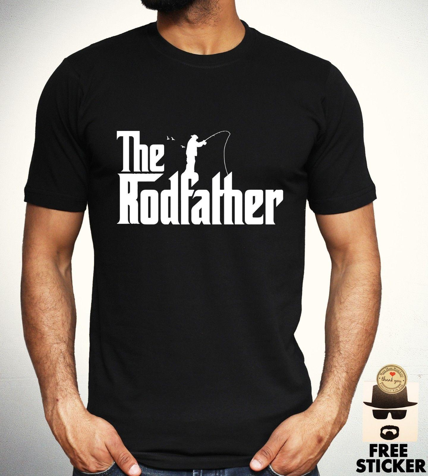 2e90a9518 The Rodfather T Shirt Funny Graphic Fishing Fisherman Gift Present Dad Mens  Top 100% Cotton Short Sleeve Top Tee Basic Funny Clever T Shirts Best Sites  For ...