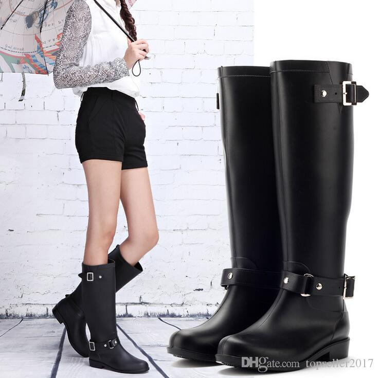 fea1039dc Fashion PVC Women Rain Boots Buckle Girls Ladies Rubber Shoes For Casual  Walking Hunting Outdoor Waterproof Female Low Heels Rainboots Zip Rain  Boots Women ...
