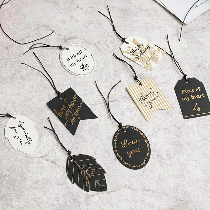 Party Diy Decorations Black White Paper Gift Tags 60pcs Thank You For You Happy Birthday Multi Shaped Leaf Design Hang Tag Packing Label