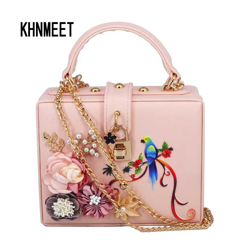 Fashion Box Shape Pink Pu Colorful Bird Chain Women Handbags Flower Flap  Bag Ladies Messenger Bag Mini Tote Shoulder Leather Backpack Purse Handbags  For ...
