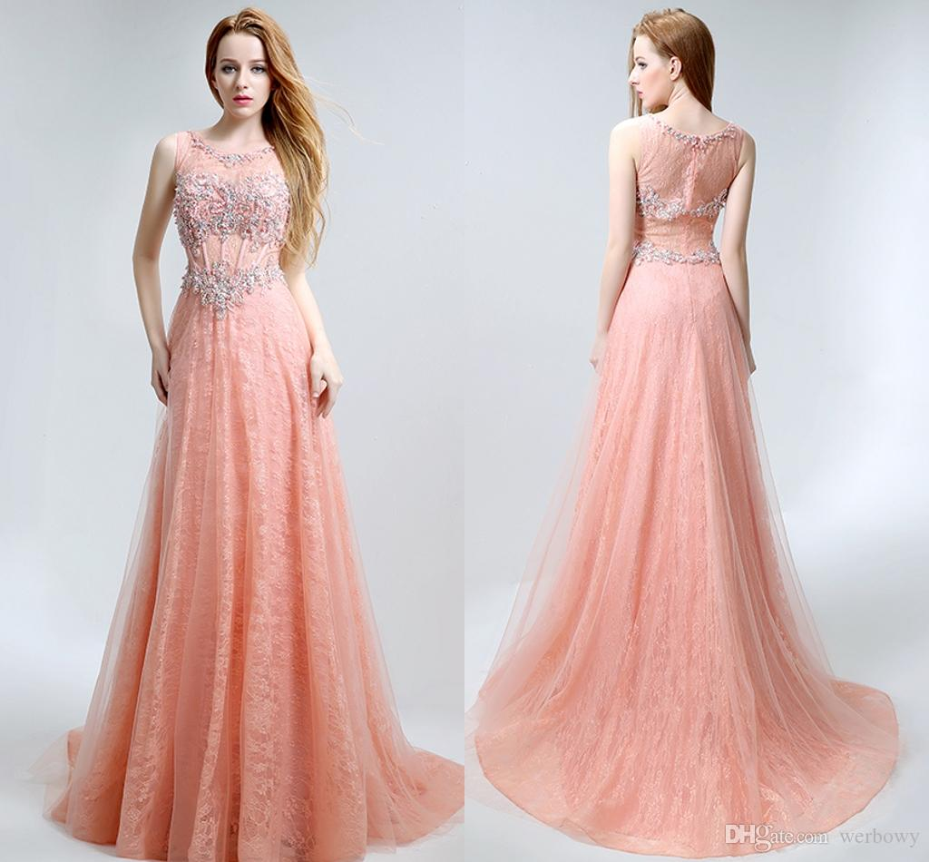 New Sexy Round Neck High-End Lace Applique Pink Formal Evening ...
