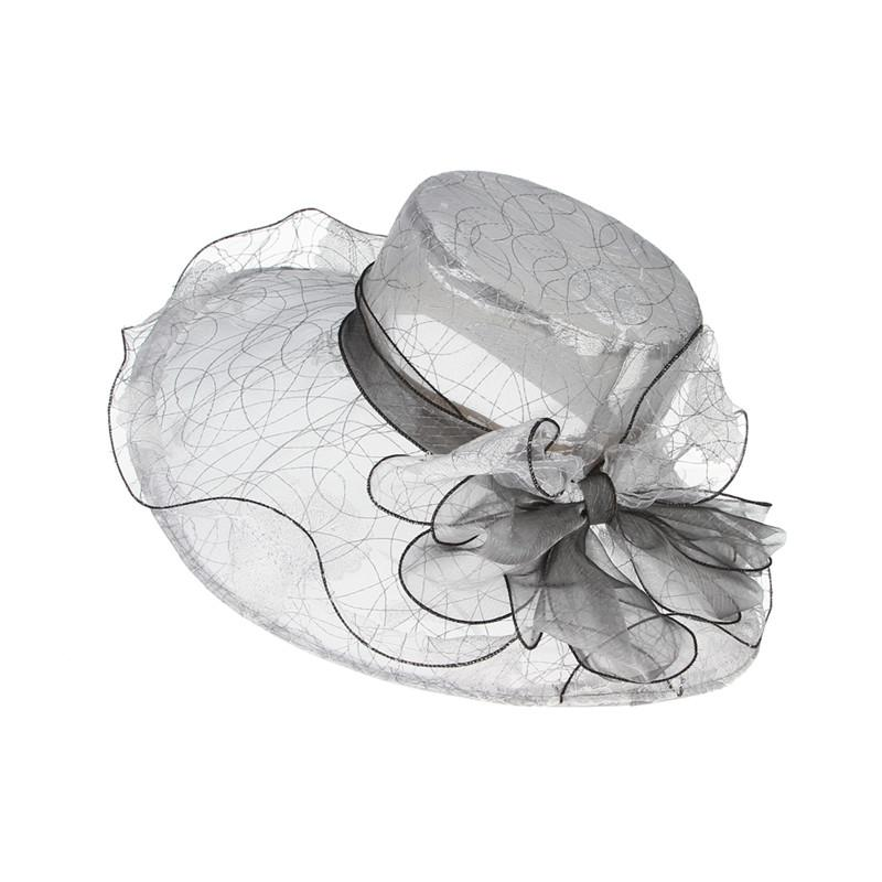 70743cd3740 Fashion Bowknot Wedding Fedora For Women Gauze Large Wide Brim Sun ...