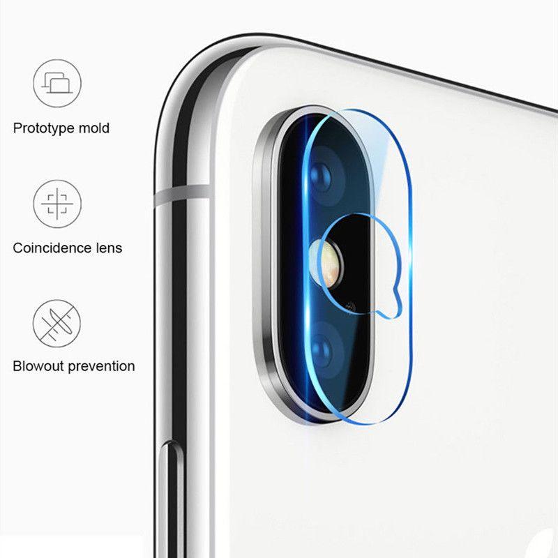 Back Camera Lens Fiberglass Flexible Soft Tempered Glass Screen Protector  For iphone X QQ Hole Design Protecive Films 100pcs/lot