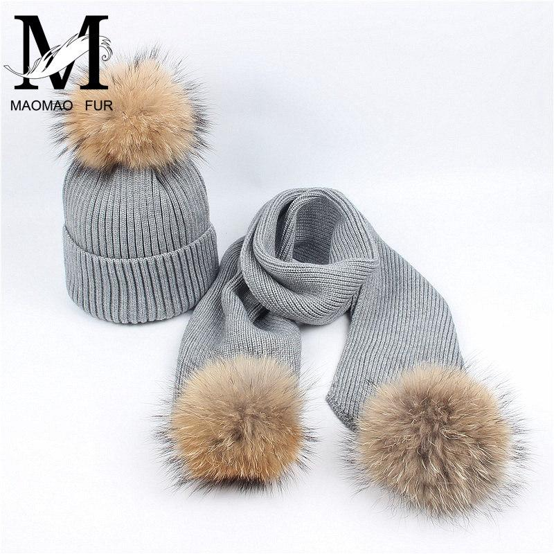 f3f228b6e0e 2019 Women Scarf And Hat Set Winter Fashion Warm Woolen Knitted Scarf And Cap  Ladies Real Big Raccoon Fur Pom Pom Hats Scarves From Huteng