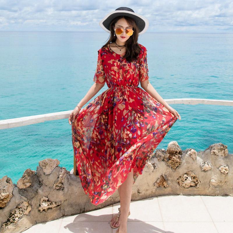 Nouveau Holiday Beach Bohemian Rouge Floral Print en mousseline de soie Maxi Dress Femmes Off Cold Perles Épaule Doux Imprimer Mid-Calf Casual Vestido