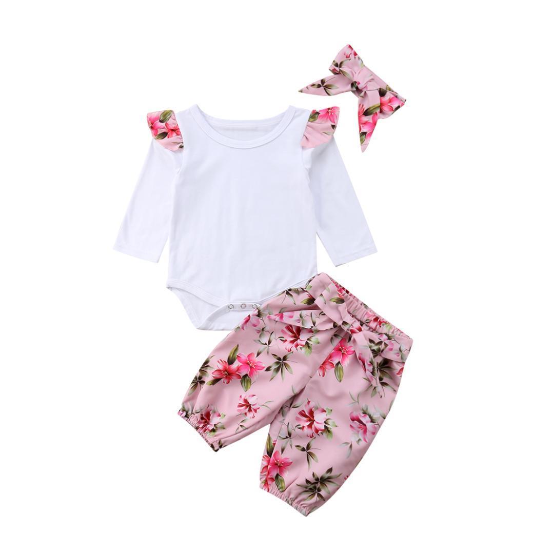 7bf65a922 2019 Newborn Baby Girl Flower Ruffle Long Sleeve Romper Tops Floral ...
