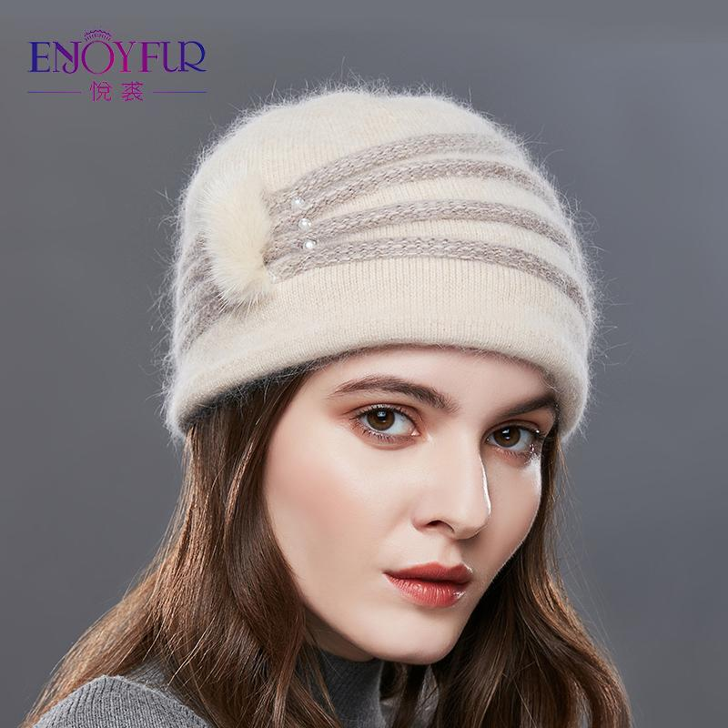 ENJOYFUR Pearl Decoration Cashmere Knitted Hat Female Oblique Stripes Winter Hats Women Thick Warm Beanies Lady Middle-Aged Caps D18110102