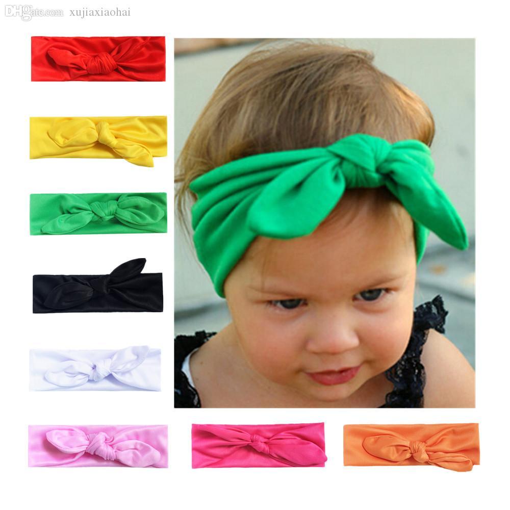 14 색 탄성 천으로 매듭이있는 토끼 귀 부드러운 아기 머리띠 아동 머리 밴드