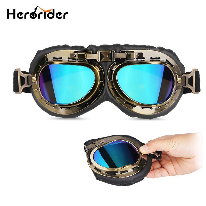1edd6d85b7502 Compre Herorider Motocicleta Aviador Do Vintage Óculos De Proteção Da Motocicleta  Moto Scooter Retro Cruiser Goggles Piloto Da Segunda Guerra Mundial Para ...