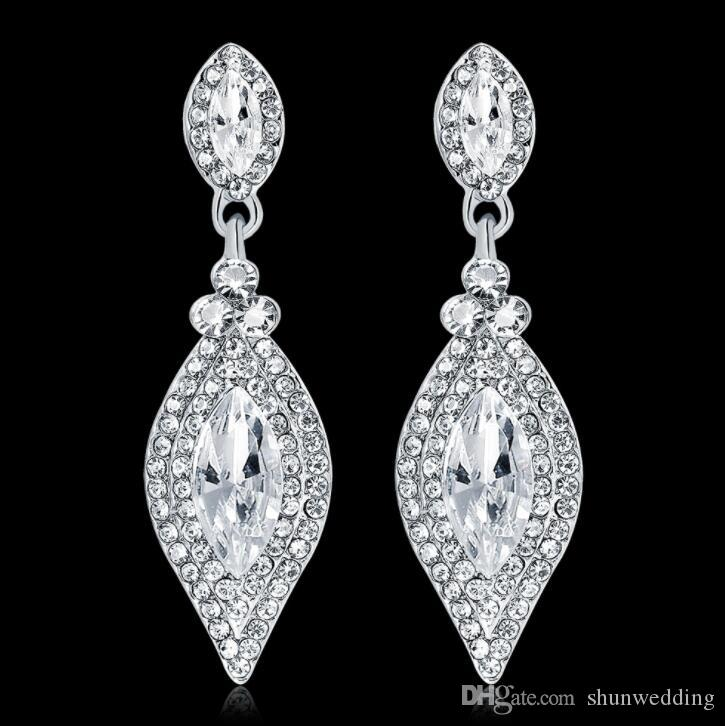 29ed4d9228835 Luxury Exquisite Shiny Crystal Rhinestones Drop Earrings for Women Bridal  Wedding Engagement Ceremony Earrings Jewelry Christmas gift