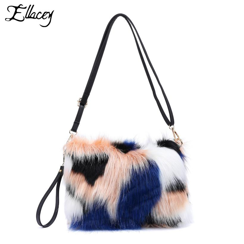 0decf95e727c New 2018 Noble Contrast Color Faux Fur Clutch Bags Women Luxury Multicolor  Soft Messenger Bags Casual Hairy Plush Day Clutches Designer Handbags On  Sale ...