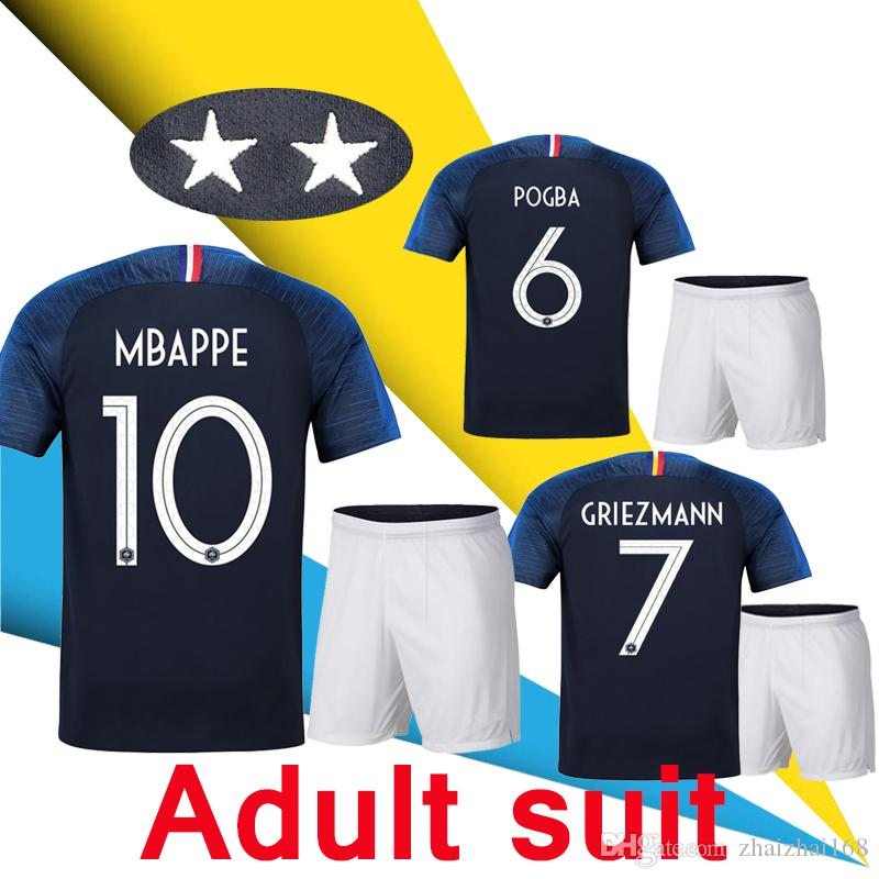 fe6832b8f06 2 Star 2018 World Cup Jersey Adult Suit Kit GRIEZMANN MBAPPE POGBA Home  Blue French Soccer Jersey Two Stars Frances Football Shirt 2018 2019 18 19  Online ...