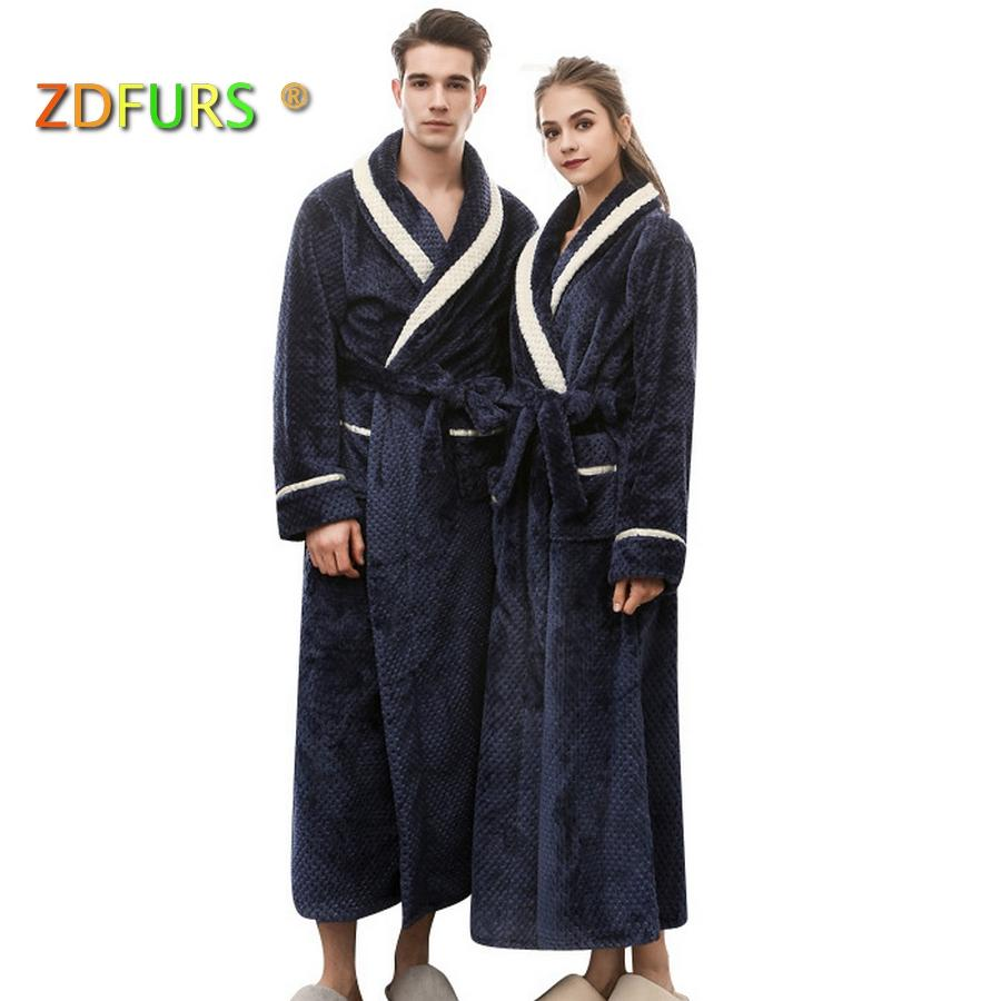 2018 Zdfurs *new Women Winter Warm Long Bath Robe White Stripes ...