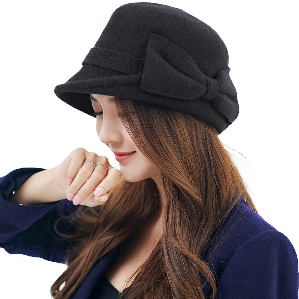 2019 Women Beret Cloche Felt Hat Female Bonia Winter Baret Wool ... 0abe49ef4a7