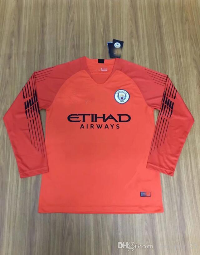 f87bf671c36 ... City Long-sleeved Goalkeeper Football Uniform KUN AGUERO 18 19 Football  Clothing Top Wholesale Retailer Manchester City Goalkeeper Soccer Jersey  Online ...