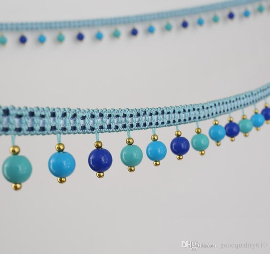 12Meter Candy Bead Tassel Pendant Hanging Lace Trim Ribbon For Window Curtains Wedding Party Decorate Sewing DIY