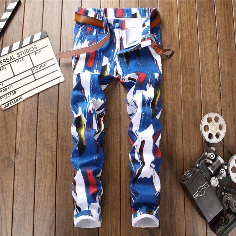 6cd51ffe0 Compre Novo E Elegante Na Moda Slim Fit Skinny Jeans Stretch Homens Padrão  Impresso Graffiti Calça Casual Mens Elástico Hip Hop Streetwear Do Punk De  Weilad ...