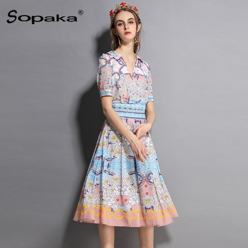 acb45fcfaeb6 2018 Conjunto de dos mujeres en otoño, azul claro y amarillo, estampado  floral, estampado floral, tops, falda, diseño de pasarela, dos piezas