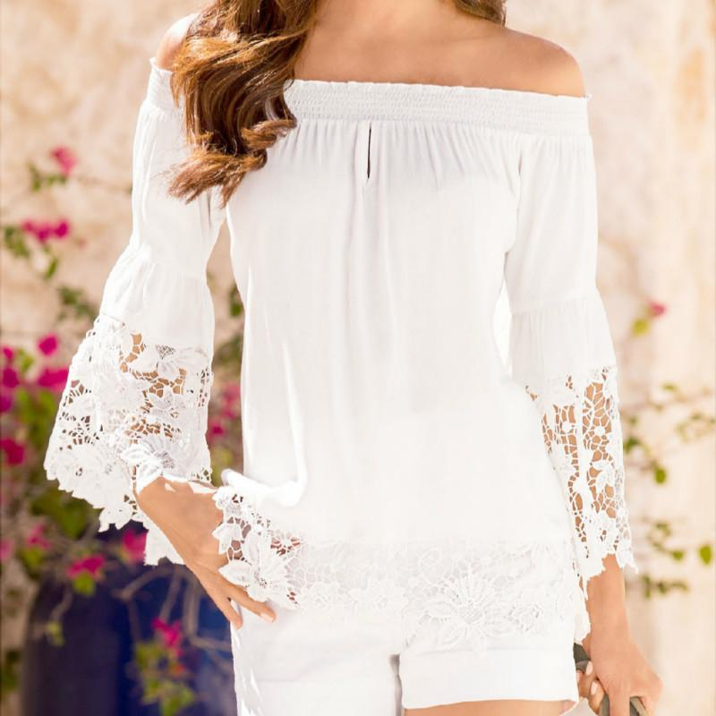 b5ecd01d1e7d80 2019 2019 Fashion Women Tops Sexy Slash Neck Off Shoulder Shirts Flare Long  Sleeve Patchwork Lace Crochet Blouses From Your01, $31.85 | DHgate.Com