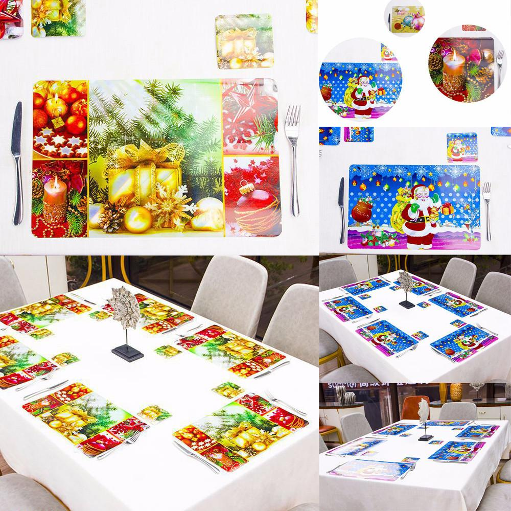 6 Set Christmas Placemat Non-slip PVC Insulation Placemat Washable Table Mats merry christmas decoration new year