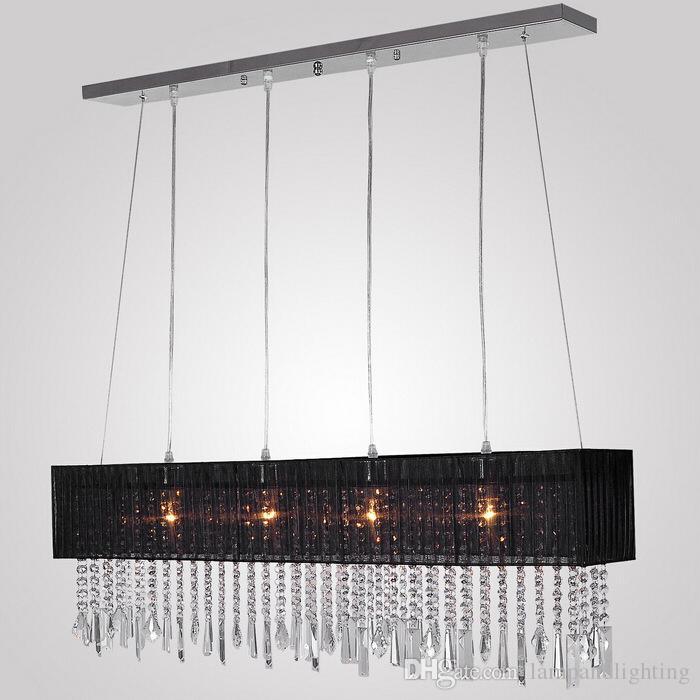 Moderna tela romántica Lámpara colgante rectangular de cristal negro lámpara colgante lustre accesorio de iluminación interior para el comedor dormitorio