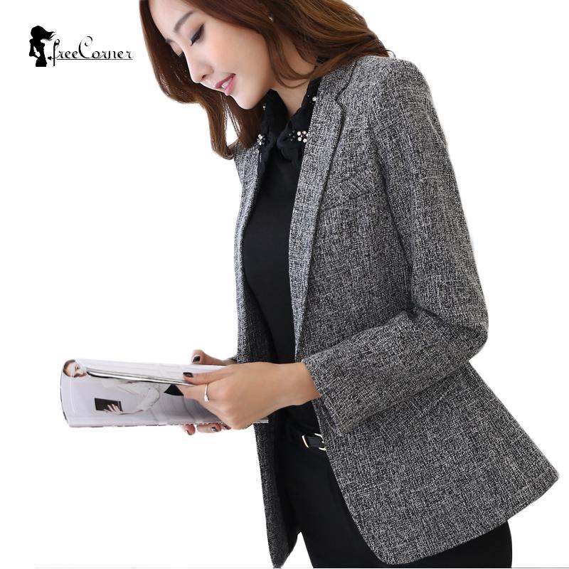 hot sale online cae37 94126 Acheter 2017 Automne   Hiver Veste Blazers Femmes Plus Taille Gris Simple Femmes  Blazer Tops Coréen OL Style Manteau Un Bouton Blazer Femelle De  29.82 Du  ...