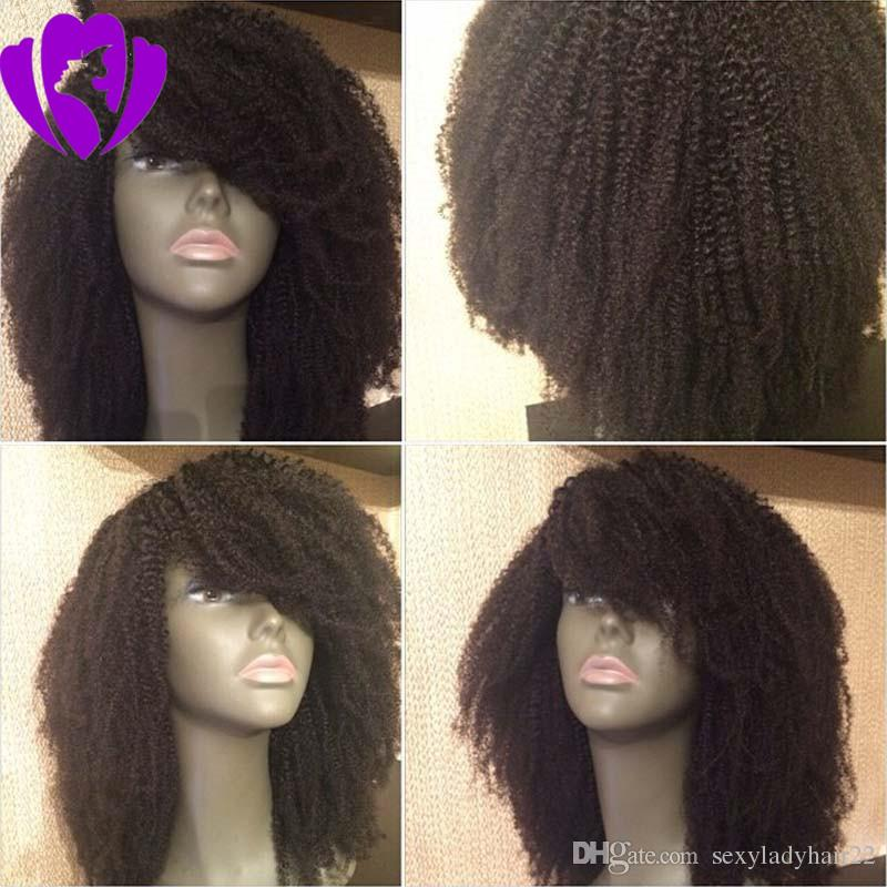 New style afro wig kinky curly hair black white 7 colors lace front wig synthetic hair Heat Resistant Halloween short wig with bangs