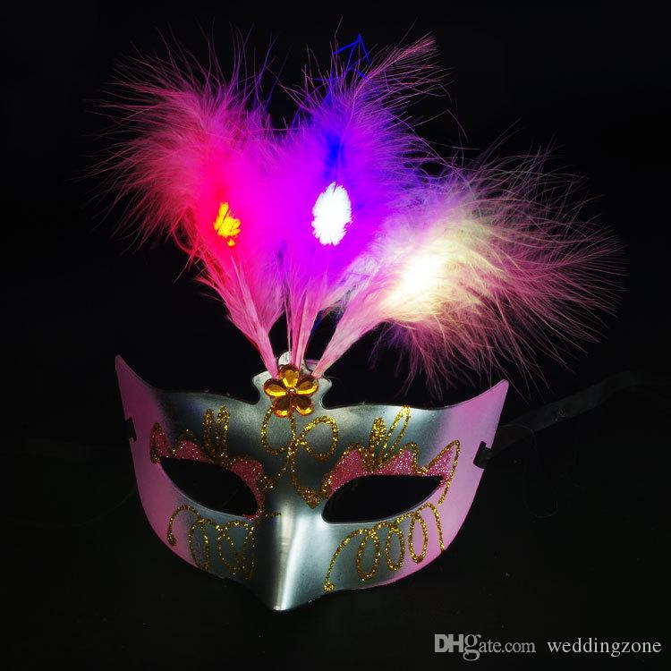 Luminescent Feathered Mask LED Glittering mask Princess Venetian Half Face mask For Masquerade Cosplay Nightclub Party Christmas Eve