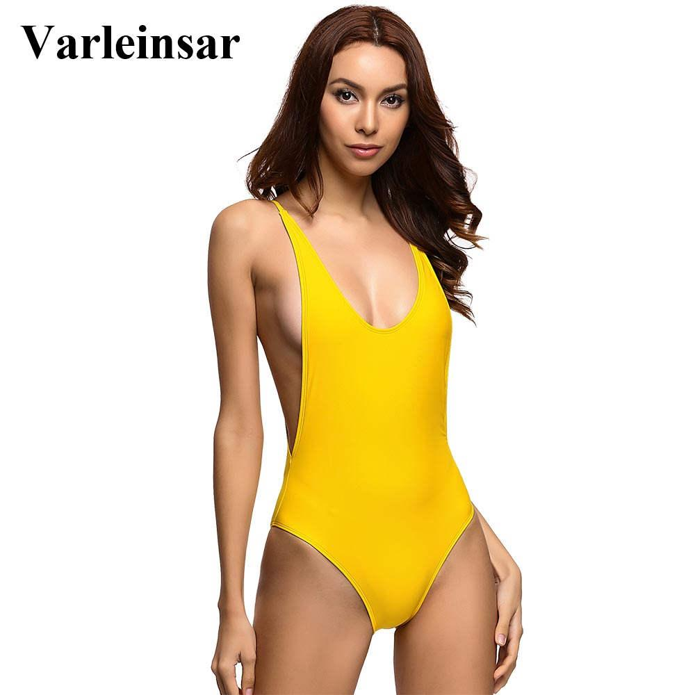 3610f4711bccd 2019 Bather 2017 Sexy Yellow One Piece Swimsuit Bathing Suit Swim Wear Low  V Neck Scoop Back Monokini Female Swimwear Women V111Y From Vanilla04