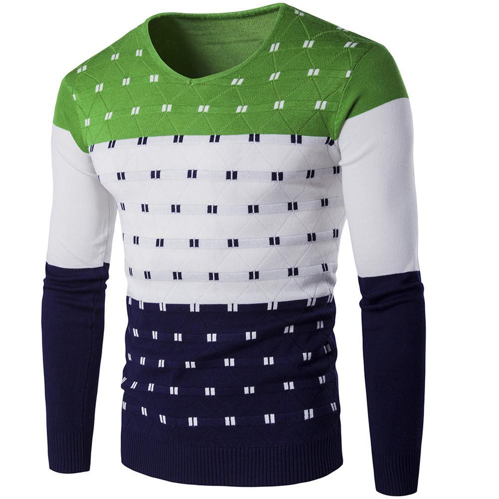2bab229b5 Elegante manga larga suéter de fitness venta caliente tops novedad verde  patchwork para hombre streetwear moda suéteres masculinos ropa para hombre