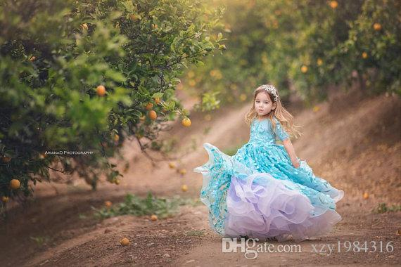 Aqua Blue And Lavender Birthday Dresses 2018 Fairy Appliques Couture Flower Girl Dress Lovely 1/2 Long Sleeve Ball Gown Toddler Pageant Dres