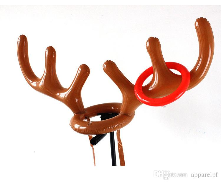 Inflatable antler deer head ring game aerated Christmas hat PVC antler inflatable cap animal horned cap Inflatable toys