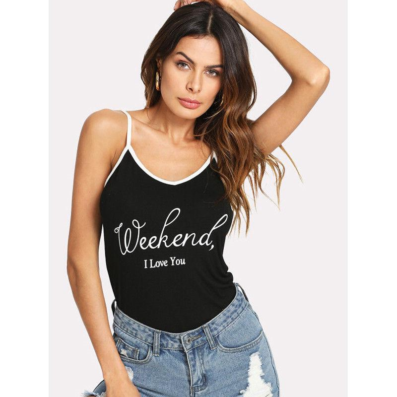 8db913d3dec43a 2019 Trendy Women Clothes Summer Letter Print Pullover Cotton Vest  Sleeveless V Neck Casual Tank Tops One Pieces From Edmund02, $28.21 |  DHgate.Com