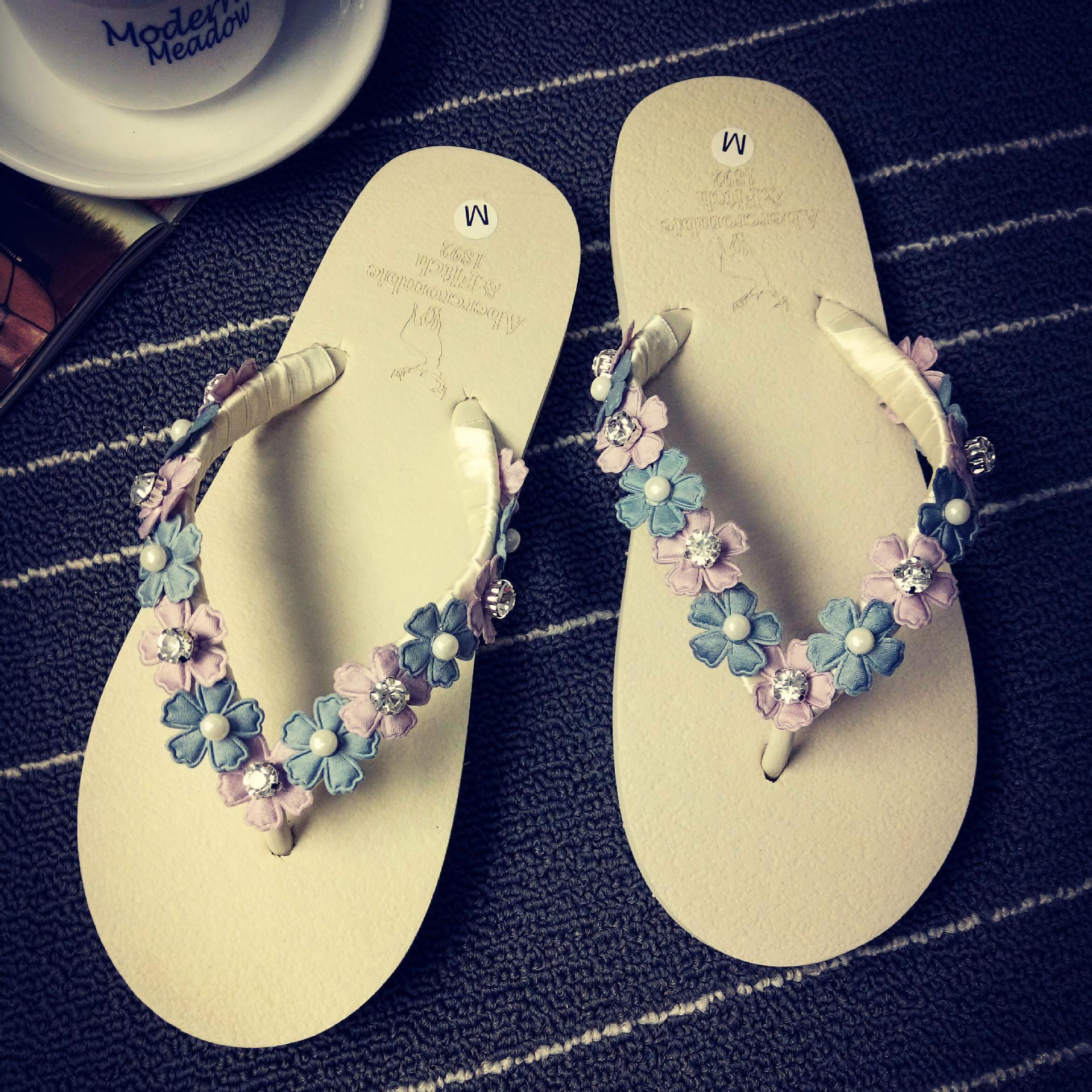 Summer Sweet Girls Slippers Camellia Flower Women Sandals Flat Flip